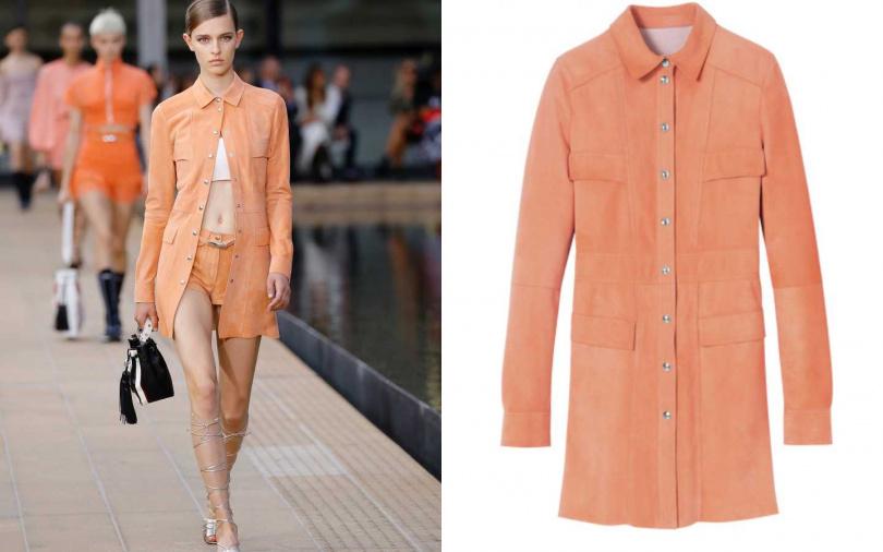 讓人些許錯失比例的線條,可以說是60年代風格的經典之一。LONGCHAMP 麂皮開襟洋裝/約67,600元(圖/品牌提供)