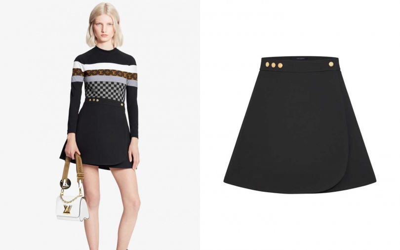 對比搭配貼身上衣,讓腰線一秒現形。Louis Vuitton A字迷你裹式半截裙/74,000元(圖/品牌提供)