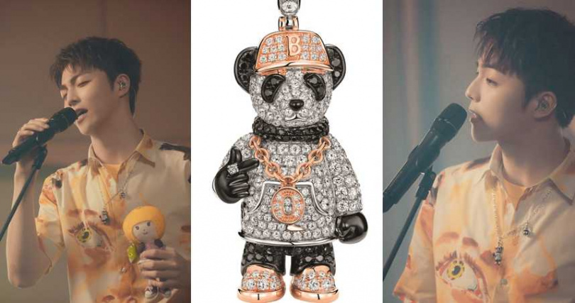 Qeelin Hip Bo Bo 18K白、玫瑰金與黑色鑲鑽嘻哈造型大型吊墜/758,000元(圖/品牌提供、翻攝陳立農微博)