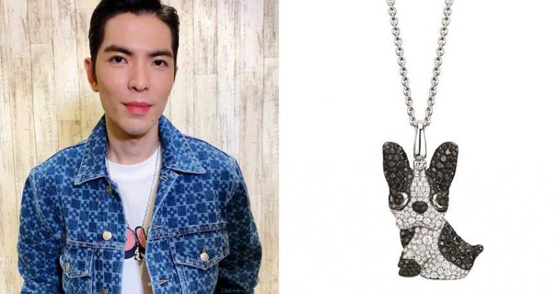 Qeelin Wang Wang 18K白金鑲鑽法國鬥牛犬造型吊墜/539,300元(圖/品牌提供)