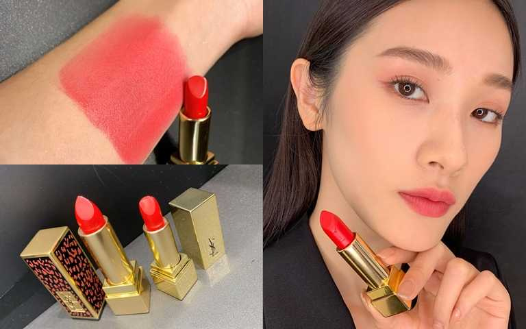 內附的奢華緞面唇膏,色號是YSL最經典的#1火熱艷紅,一擦上氣場全開,膚色立刻被完全提亮。(圖/吳雅鈴攝影)