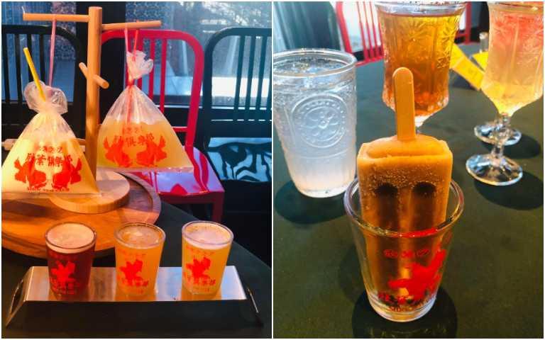 紹興米糕冰棒(右)、飲料。(圖/余玫鈴攝)