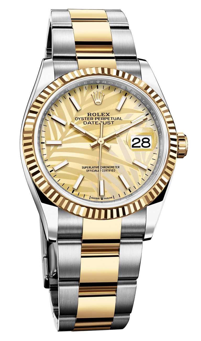 ROLEX「Oyster Perpetual Datejust 36」蠔式恒動日誌型36腕錶,36mm,蠔式鋼、18K黃金錶殼,金色錶盤、坑紋圖案,3235型自動上鏈機芯╱386,500元。(圖╱ROLEX提供)