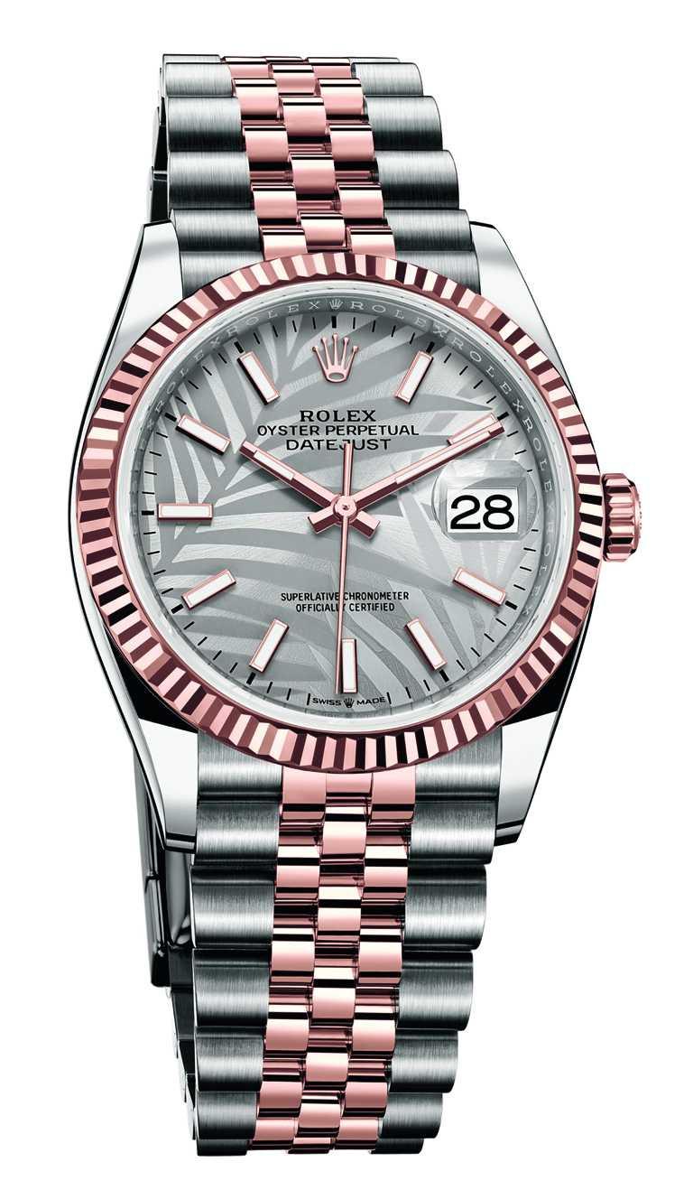 ROLEX「Oyster Perpetual Datejust 36」蠔式恒動日誌型36腕錶,36mm,蠔式鋼、18K永恆玫瑰金錶殼,銀色錶盤、棕櫚葉圖案,3235型自動上鏈機芯╱397,000元。(圖╱ROLEX提供)