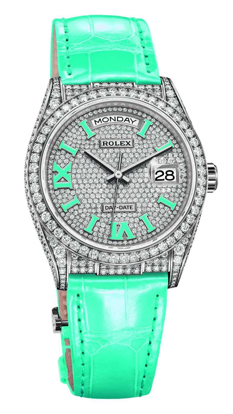 ROLEX「Oyster Perpetual Day-Date 36」蠔式恒動星期日曆型36腕錶,36mm,18K白色黃金錶殼,3255型自動上鏈機芯╱價格店洽。(圖╱ROLEX提供)