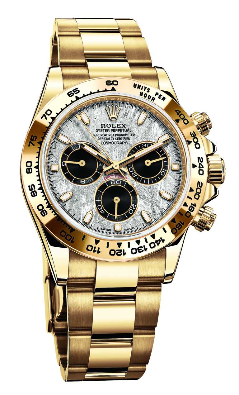 ROLEX「Oyster Perpetual Cosmograph Daytona」蠔式恒動宇宙計型迪通拿腕錶,40mm,18K黃金錶殼,4130型自動上鏈機芯╱1,362,500元。(圖╱ROLEX提供)