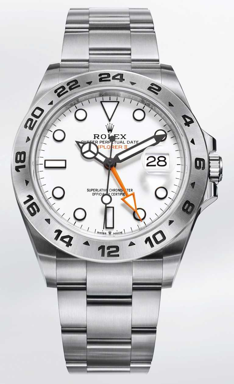 ROLEX「Oyster Perpetual ExplorerII」蠔式恒動探險家型II腕錶,42mm,蠔式鋼錶殼,3285型自動上鏈機芯╱282,000元。(圖╱ROLEX提供)