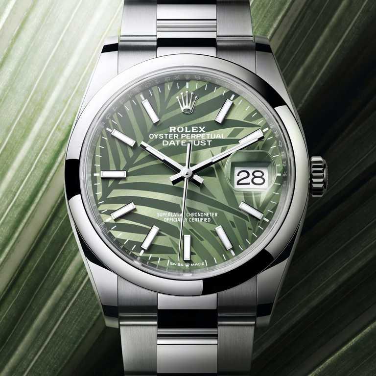 ROLEX「Oyster Perpetual Datejust 36」蠔式恒動日誌型36腕錶,36mm,蠔式鋼錶殼,橄欖綠錶盤、棕櫚葉圖案,3235型自動上鏈機芯╱233,500元。(圖╱ROLEX提供)