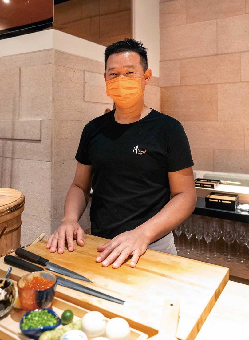 洪慶同主廚擅長以台灣四季特產與洋食概念呈現日式料理。(圖/焦正德攝)