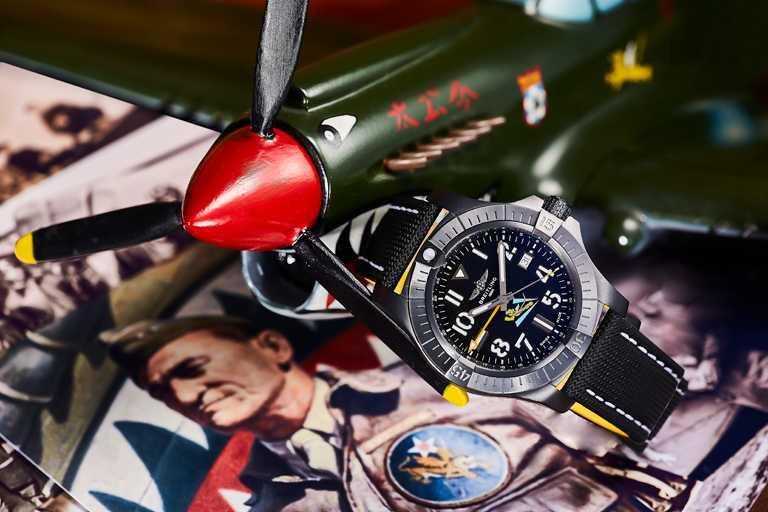 BREITLING「Avenger AVG飛虎隊80周年紀念」台灣限定款腕錶,全球限量63只,僅限台灣發行╱175,000元。(圖╱BREITLING提供)
