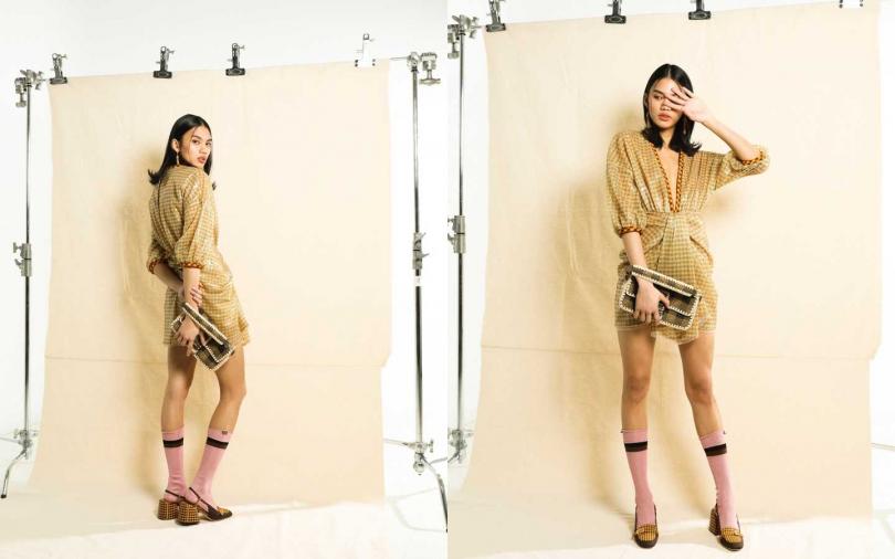 FENDI Check Sequin Dress 洋裝/約116,727元、Baguette 包/價格未定、Brown Cotton Promenade 跟鞋/約26,706元、FF Earrings 耳環/約17,704元、Pink Silk Socks 長襪/約6,600元(攝影/戴世平)