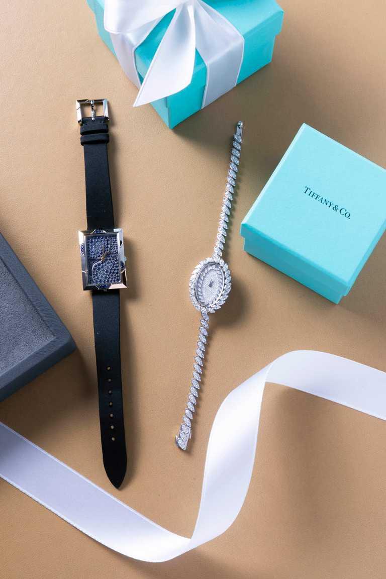 Tiffany & Co.「Tiffany Jewel Box」高級珠寶系列腕錶╱(左)18K金與18K白金鑲嵌藍寶石腕錶╱2,240,000元;(右)18K白金鑲鑽腕錶╱3,775,000元。(圖╱Tiffany & Co.提供)