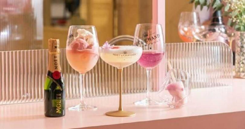 夢幻級香檳調酒-首次與冰品結合之 「莓果冰棒」及「玫瑰荔枝雪酪」 酩悅香檳調酒。