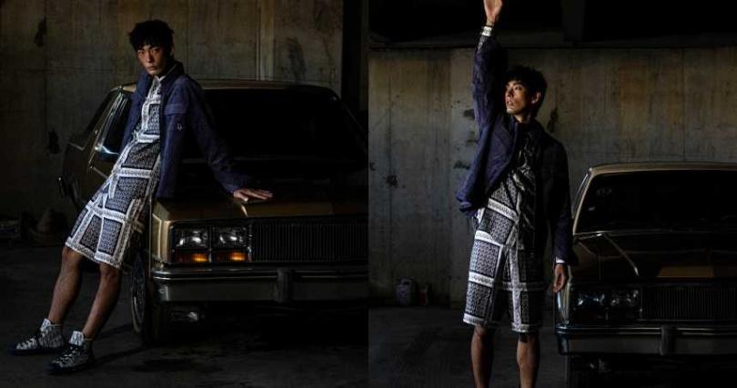 DIOR Oblique 絲質斜紋格紋襯衫/52,000元、DIOR Oblique 灰色緹花襯衫/50,000元、DIOR Oblique 絲質斜紋格紋短褲/46,000元、紫色燈心絨拉鍊夾克/36,000元、B23高筒帆布鞋/37,000元(圖/莊立人 攝)