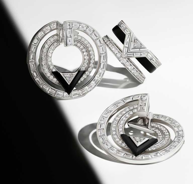 LOUIS VUITTON「Pure V」系列高級珠寶,鑽石與縞瑪瑙耳環╱3,070,000元;鑽石與縞瑪瑙戒指╱價格店洽。(圖╱LOUIS VUITTON提供)