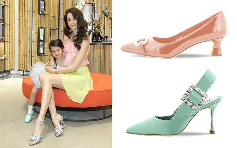 (瑞莎穿著)TICUNA 藍色飾釦高跟鞋/NT52,800,(右上)IOTA050-PAT.PINK (6819) /NT34,800,(右下)NINUTRA-SATIN-GREEN價格店洽(圖/藍鐘提供)