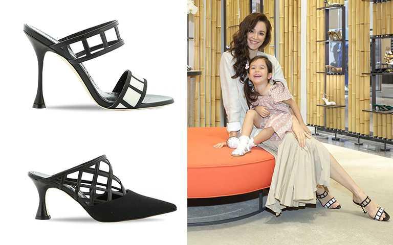 (上、瑞莎穿著)ABEY黑白相間格紋高跟鞋/NT34,800,(下)ASALA LINEN BLACK/NT37,800(圖/藍鐘提供)
