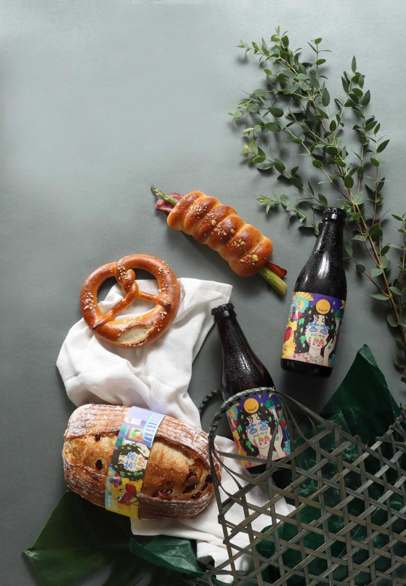 「端午野餐籃」每款麵包皆使用了啤酒酵母進行發酵,並將「苦苦 IPA」揉入麵團中,帶來啤酒香氣及微苦尾韻增添層次。