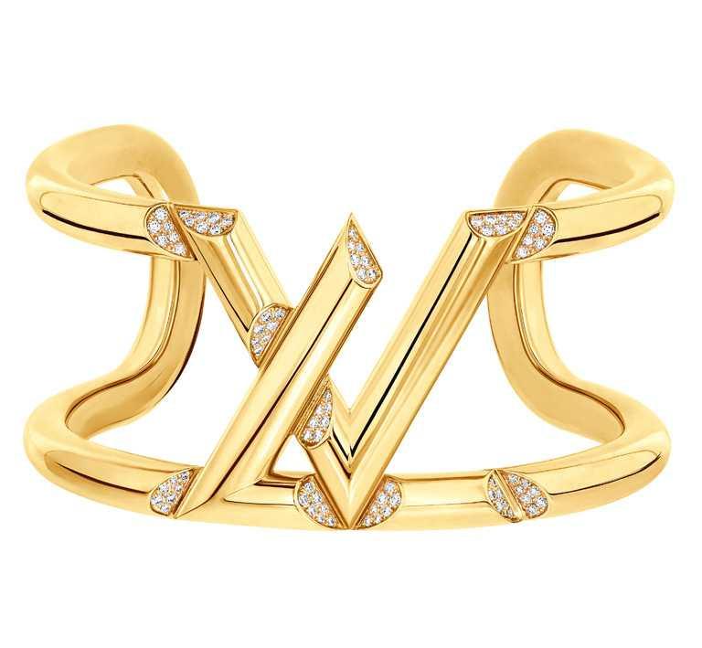 LOUIS VUITTON「LV Volt」系列,One黃金鑲鑽手鐲╱815,000元。(圖╱LV提供)