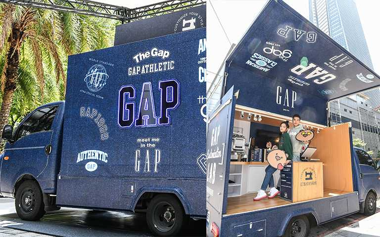 GAP專屬訂製體驗車將巡迴各門市,不僅能夠拍照打卡,可以直接在車上幫衣服做電繡、布章燙印。(圖/GAP提供)