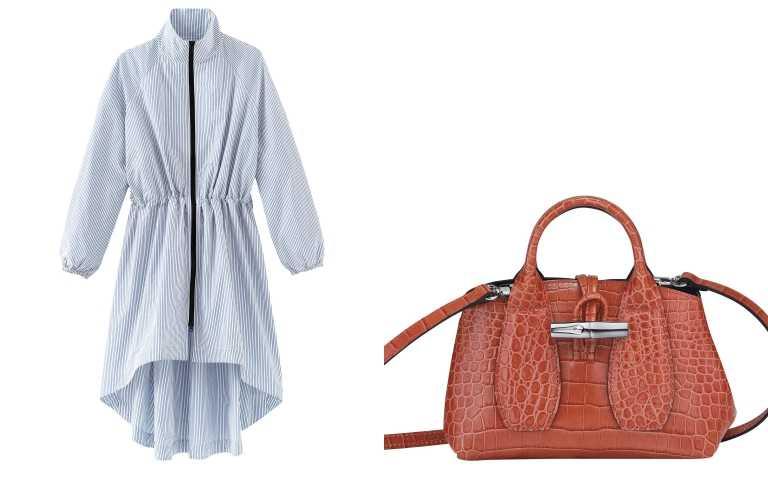 Longchamp 2021春夏服裝系列粉藍長版外套/29,800元;Longchamp Roseau Croco 系列手提包 XS (珊瑚紅色)/17,400元(圖/品牌提供)
