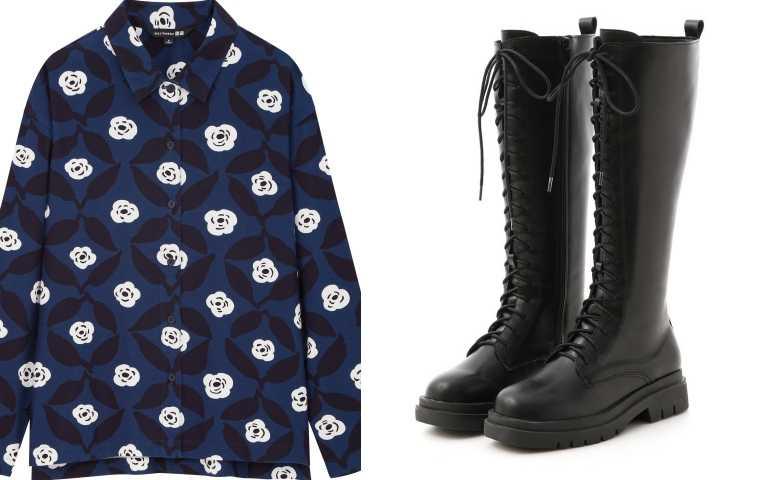 UNIQLO X Marimekko法蘭絨襯衫長袖/790元;D+AF鬆糕底綁帶馬汀長靴 售價NT$1,580/1,580元(圖/品牌提供)