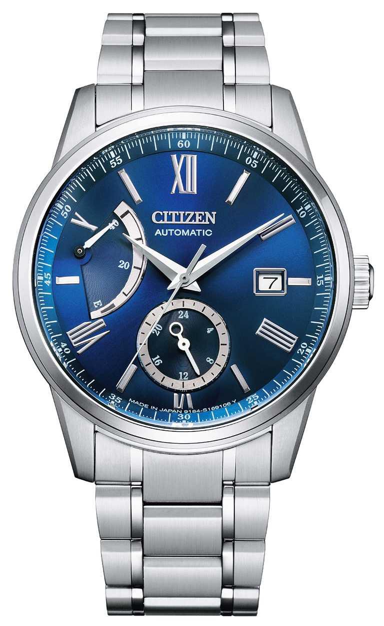 CITIZEN「正能量動儲紳士」機械腕錶,藍色面盤款(型號NB3001-61M)╱不鏽鋼錶殼,40.5mm,29,800元。(圖╱CITIZEN提供)