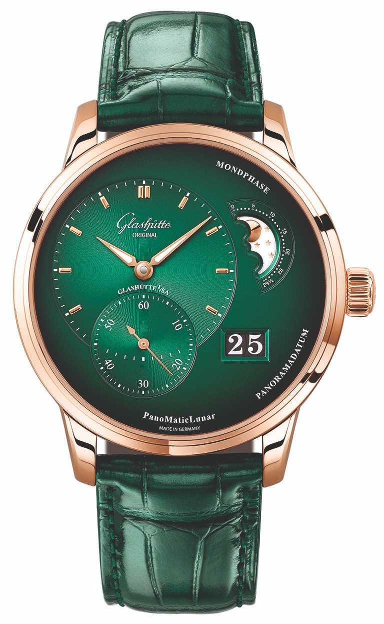 Glashütte Original「PanoMaticLunar」偏心月相腕錶,40mm,18K紅金錶殼,Calibre 90-02型自動上鏈機芯╱692,000元。(圖╱Glashütte Original提供)