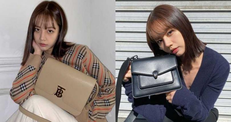 左:BURBERRY 小型皮革 TB 包/75,000元;右: BVLGARI Serpenti Forever Maxi Chain黑色小羊皮肩背包約新台幣108,800元(Size:25 x 17 x 8 cm)(圖/惠利ig)