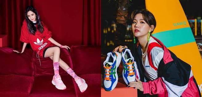 adidas Originals找來中國女星楊冪詮釋高彩度單品,ASICS邀來陳艾琳為 GEL-BND新品站台,撞色老爹鞋搭上運動風,女孩也能很帥氣!(圖片/各品牌提供)