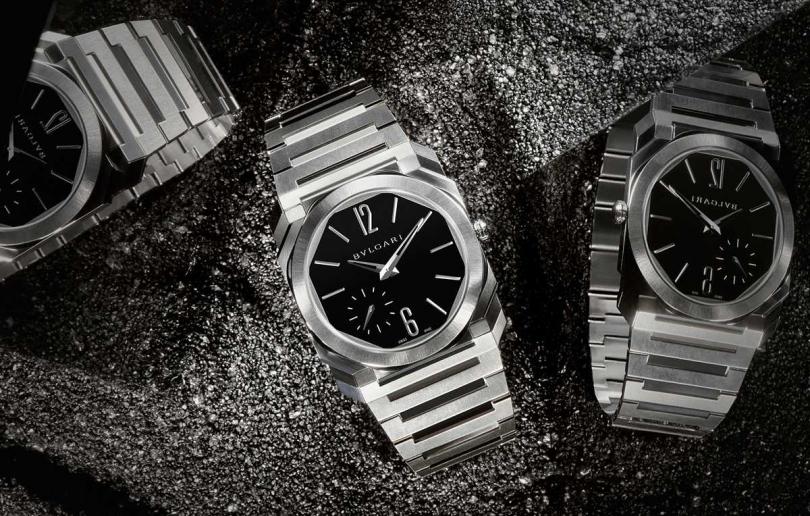 BVLGARI「Octo Finissimo Automatic」緞面拋光精鋼超薄自動腕錶╱388,500元。(圖╱BVLGARI提供)