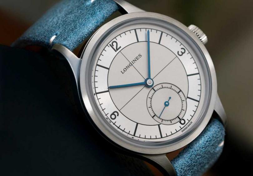 Longines「Heritage Classic復刻經典」藍色皮革錶帶腕錶╱69,200元。(圖╱Longines提供)