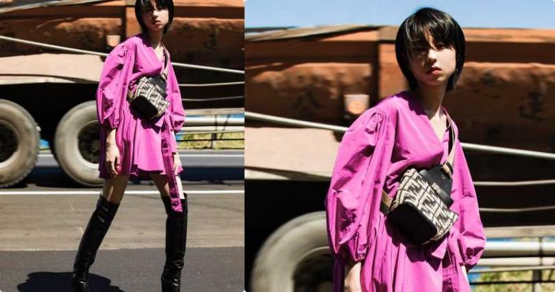 VALENTINO 莓果色羅緞綁帶洋裝/約87,900元;CELINE 小牛皮CLAUDE皮靴/61,000元;FENDI 拉菲草編織側背包/約49,700元(圖/莊立人攝)