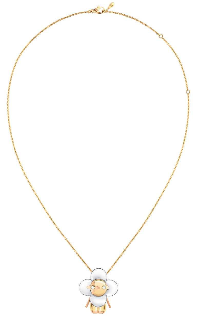 LOUIS VUITTON「Vivienne」系列珠寶,鑲鑽中尺寸吊墜╱550,000元。(圖╱LOUIS VUITTON提供)