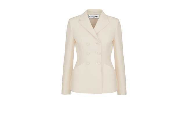 Bar Jacket 白色雙排釦束腰夾克。