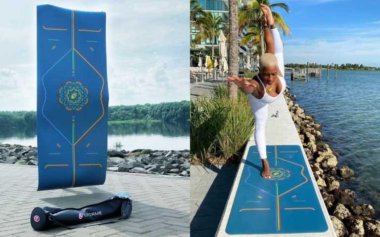LIFORME藍天彩虹限定經典瑜珈墊 LIFORME Blue Sky Rainbow Mat/ 8,000元,材質: 純天然橡膠/專利環保 PU 重量: 約 2.5 公斤 面積: 長 185 公分/寬 68 公分 厚度: 約 4.2 毫米 包裝: 附專屬瑜伽袋/環保再生紙箱(圖/品牌提供)