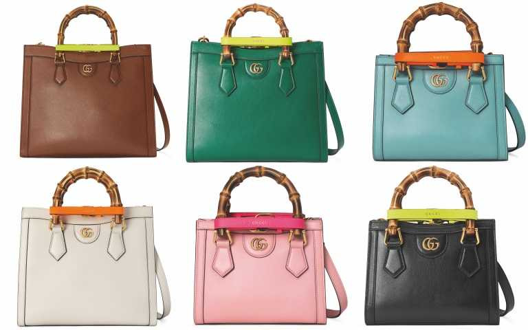 Gucci Diana 中型手提包/133,500元、Gucci Diana 小型手提包/104,700元、Gucci Diana 迷你手提包/83,000元(圖/品牌提供)