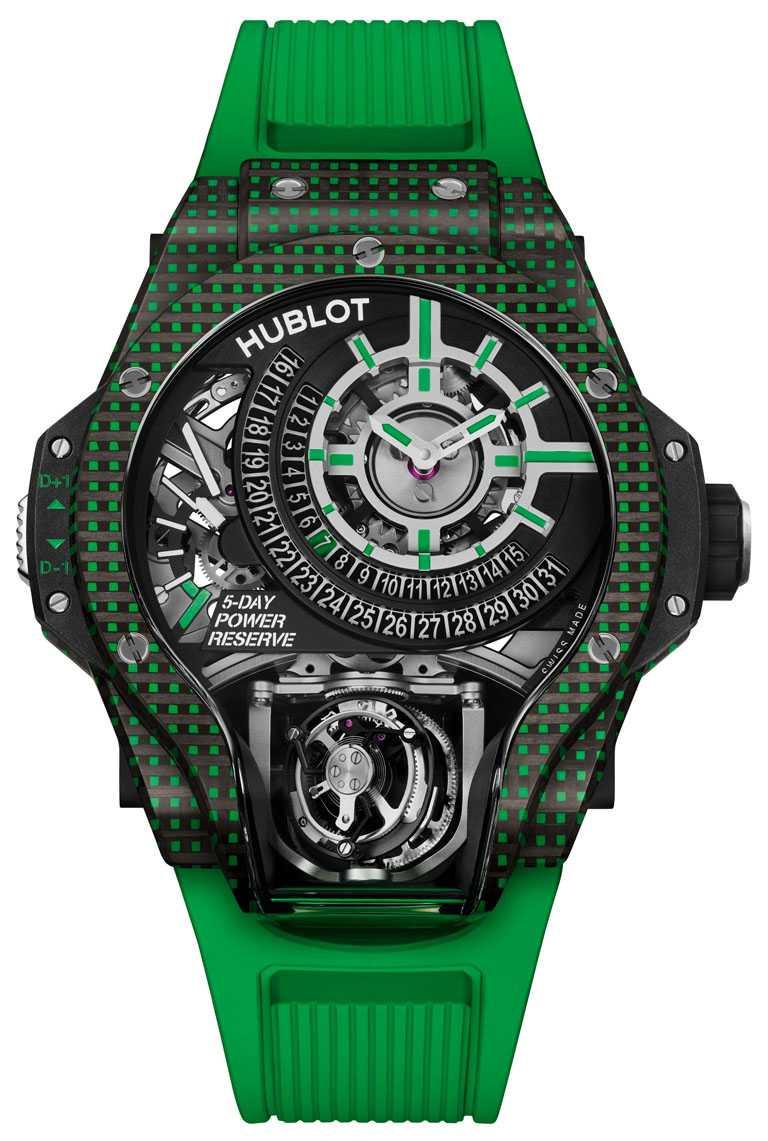 HUBLOT「MP-09」雙軸陀飛輪3D彩色碳纖維腕錶,49mm,綠色碳纖維錶殼,限量8只╱6,213,000元。(圖╱HUBLOT提供)