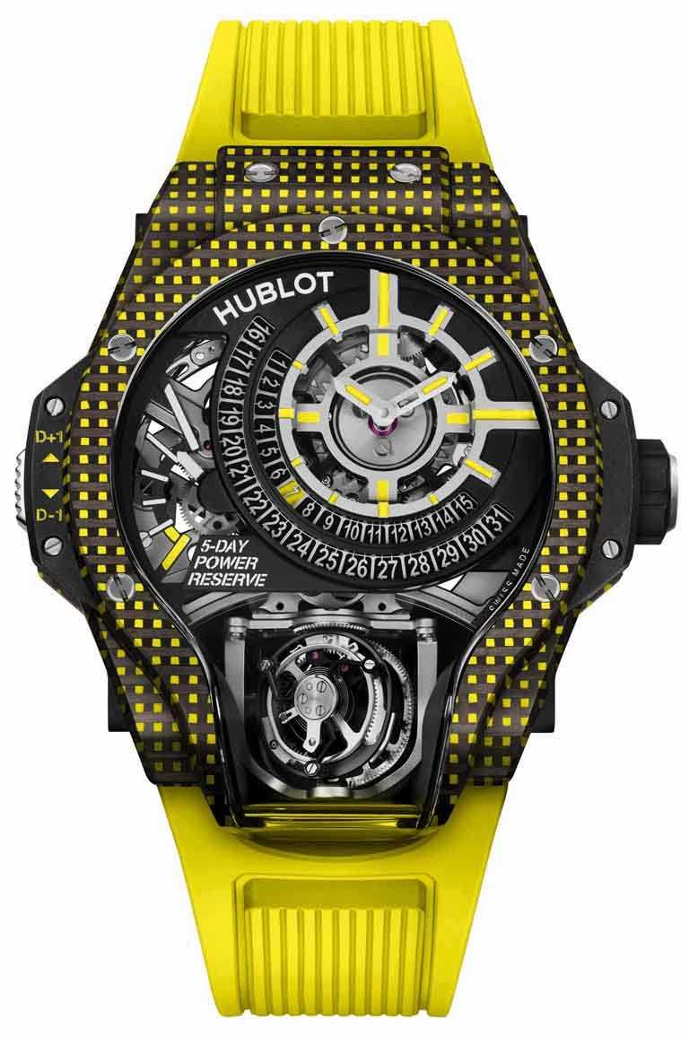 HUBLOT「MP-09」雙軸陀飛輪3D彩色碳纖維腕錶,49mm,黃色碳纖維錶殼,限量8只╱6,213,000元。(圖╱HUBLOT提供)
