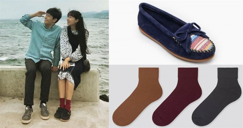 Minnetonka Fabric Kilty/2,680元、UNIQLO襪子3雙/390元(圖/翻攝網路、品牌提供)