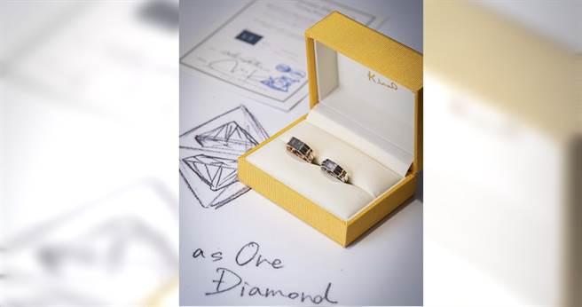 夏于喬親手設計與老公專屬對戒,戒環搭配「Soulmate」字樣及鑽石原石切割而成的「Two as One Diamond」。(圖/K.UNO提供)