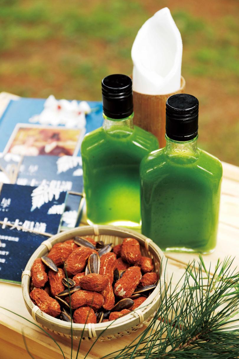 「森境微旅」半日體驗,以紅土花生、葵瓜子及綠葉松汁等點心迎賓。(圖/于魯光攝)