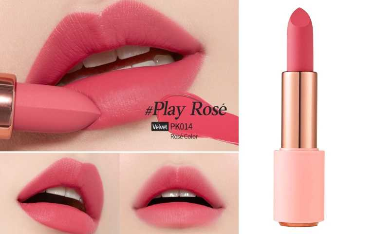 ETUDE HOUSE玩美色計絲絨唇膏玫瑰香檳系列#PK014/420元(圖/品牌提供)