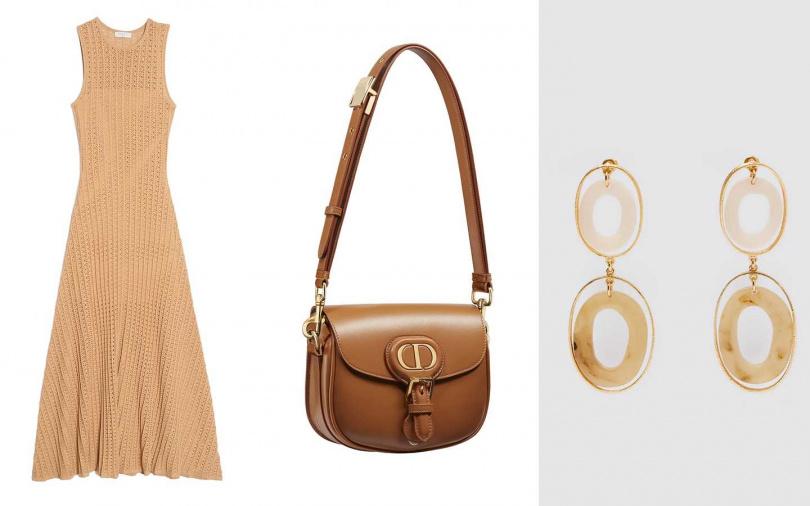 喜歡她的造型妳可以這樣搭。Sandro金色無袖洋裝/12,750元、Dior Bobby駝色光滑小牛皮小型肩背包/99,000元、ZARA橢圓形樹脂耳環/650元(圖/品牌提供)
