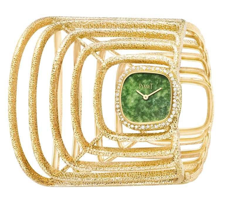 PIAGET「Extremely Piaget系列」18K黃金翡翠錶盤高級珠寶手鐲腕錶,天然翡翠錶盤,18K黃金錶殼,23mm,172顆鑽石╱4,030,000元。(圖╱PIAGET提供)