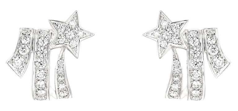 CHANEL「Comète」18K白金鑽石耳環╱250,000元。(圖╱CHANEL提供)