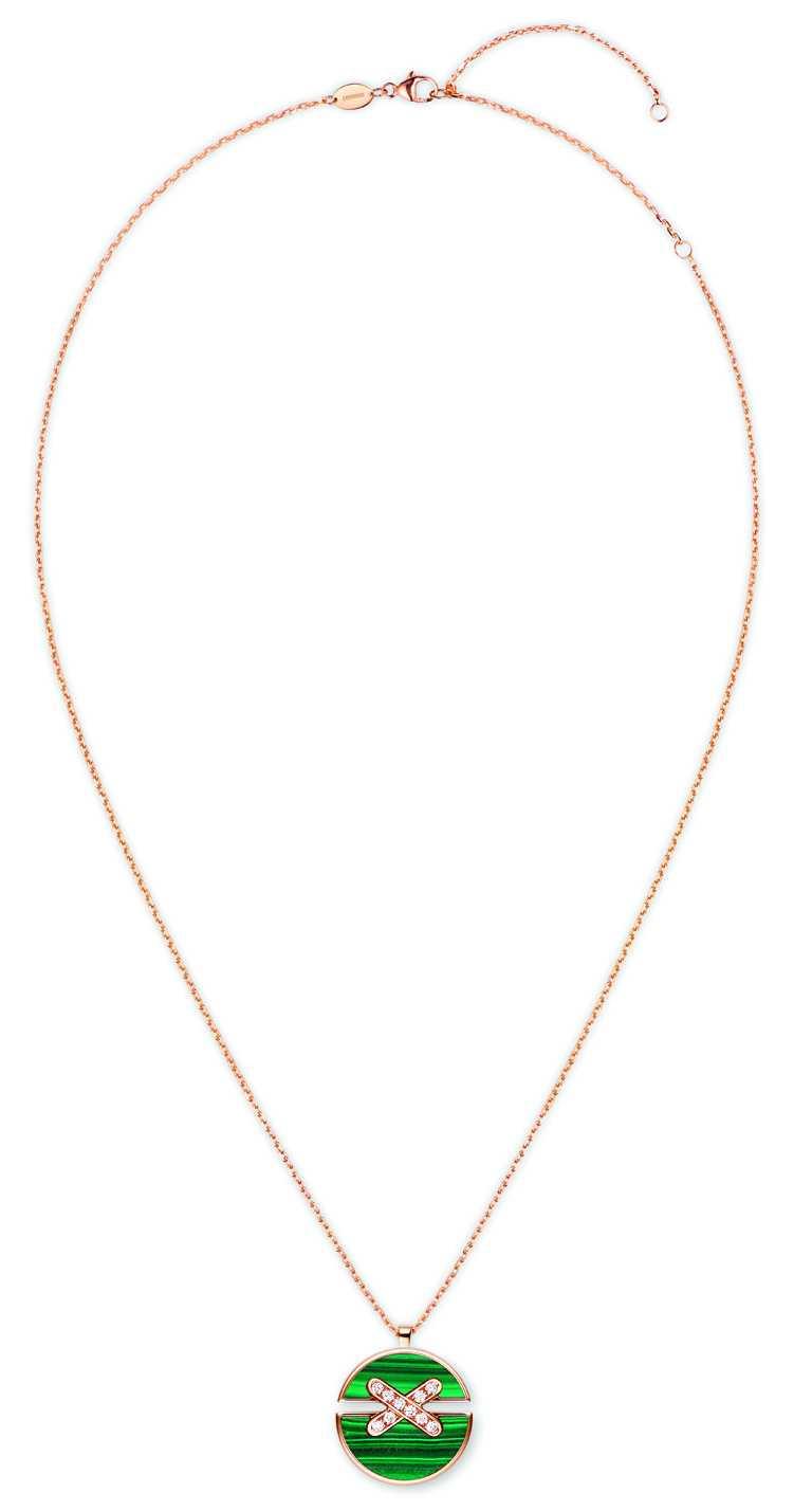 CHAUMET「Jeux de Liens Harmony」系列,玫瑰金孔雀石鑽石吊墜╱63,600元。(圖╱CHAUMET提供)