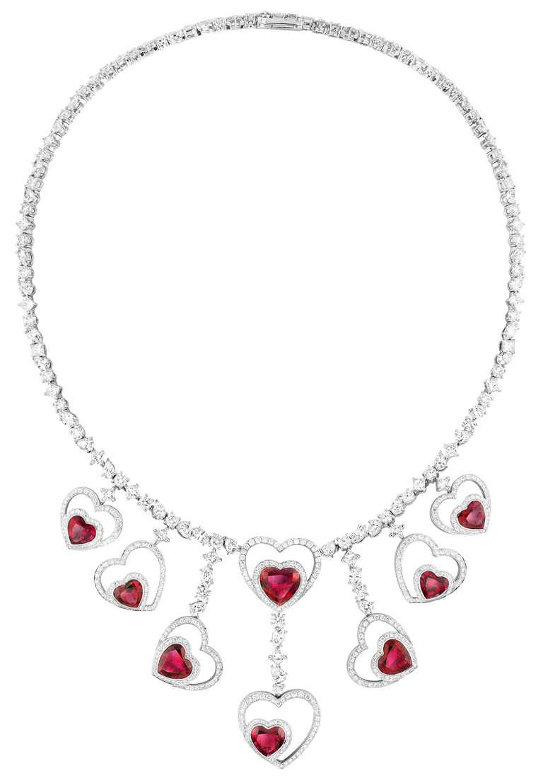 FRED「Pretty Woman」系列,Audacious紅碧璽和鑽石多重佩戴項鍊╱價格店洽。(圖╱FRED提供)