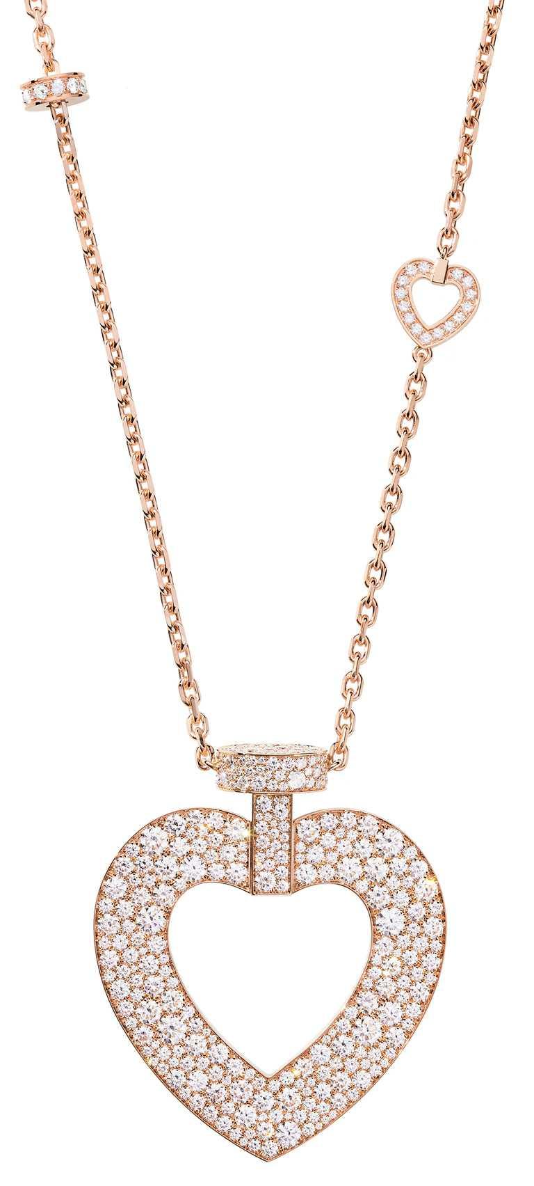 FRED「Pretty Woman」系列,玫瑰金鑽石超大號款長項鍊╱1,302,100元。(圖╱FRED提供)
