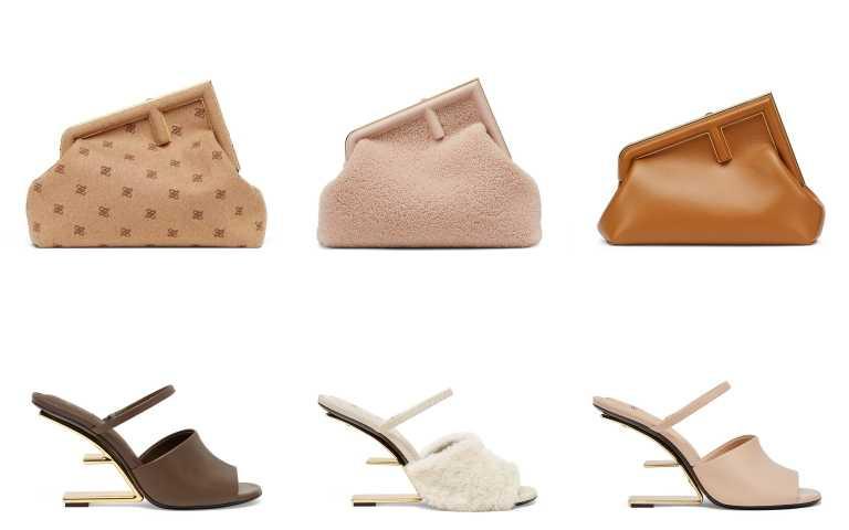 FENDI FIRST 駝色法蘭絨中型手拿包/106,000、裸膚色羔羊絨毛小型手拿包/98,000元、焦糖色小羊皮中型手拿包/106,000元、咖啡色高跟涼鞋/45,000元、 白色羊毛搭配蛇皮高跟涼鞋/49,000元、粉色高跟涼鞋/45,000元(圖/品牌提供)